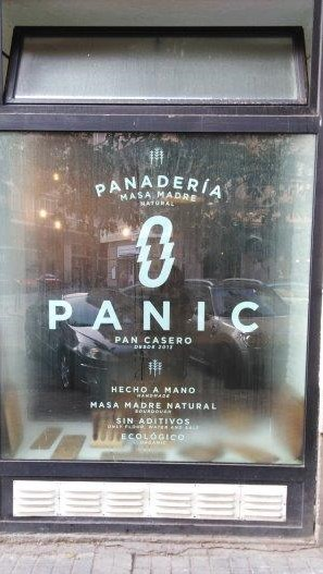 Front of Panic Bakery with steamed up window.